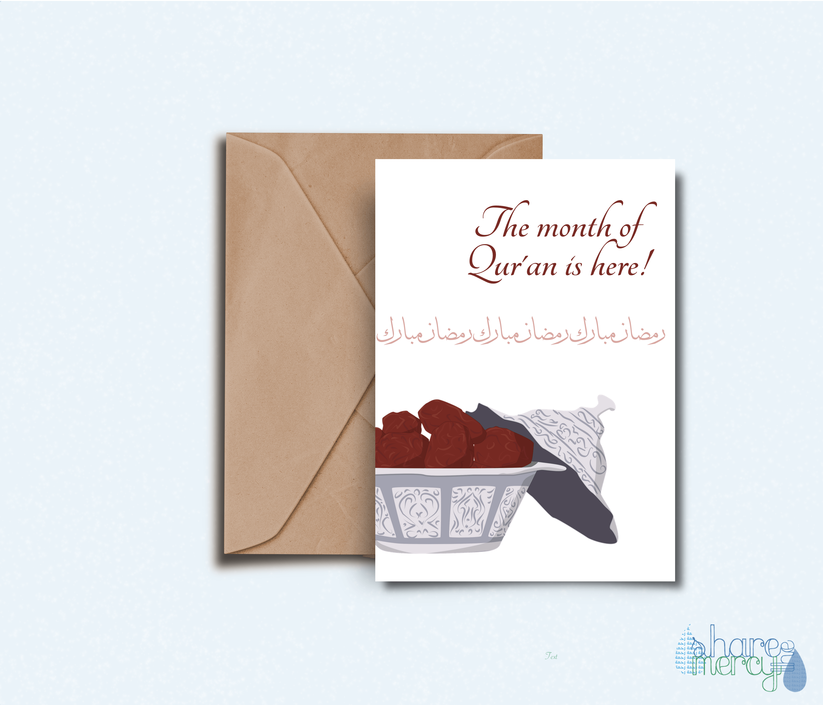 photograph about Ramadan Cards Printable called Dates and Quran - Printable Greeting Card Proportion the Mercy